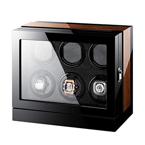 XIUWOUG Expositor de relojes automático, pantalla táctil LCD, acabado en madera, iluminación incorporada, funciona con bobinado del motor extremadamente silencioso (tamaño: 6 + 0)
