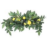 Swag floral, 29.5 pulgadas de limón artificial Swag decorativo Swag con hojas de eucalipto, muelles de primavera y coronas para puerta delantera, pared y arco de boda decoración del hogar jardín