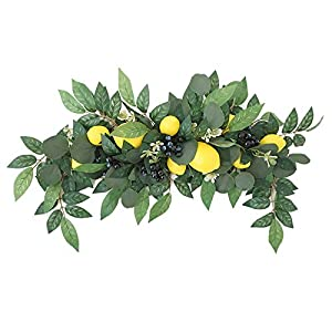 æ— Artificial Flower Swag, Wedding Arch Flowers Kit, 29.5 Inch Spring Floral Swag with Fake Lemon, Yellow Berry and Green Leaves for Home Wedding Party Door Lintel Decor