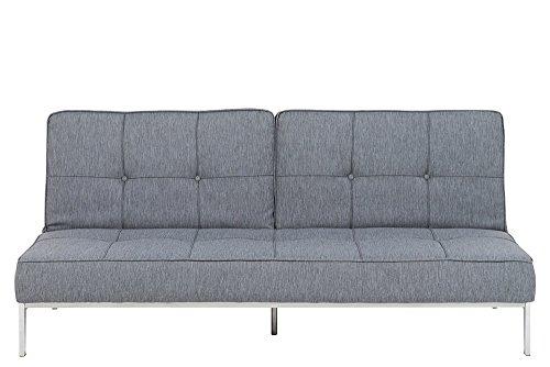 lifestyle4living Schlafsofa in Grau, 3-Sitzer Sofa mit Schlaffunktion, Web-Stoff, Knopfsteppung, Stahl-Beine verchromt | Gemütliche Couch in modernem Design