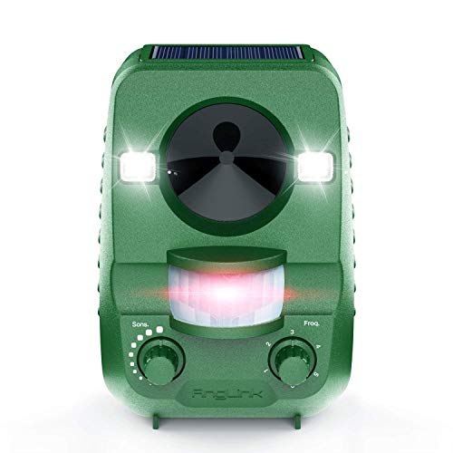 Anglink Ultrasonic Cat Dog Repeller, Solar Power Animal Repellent with Dual Flash Light,Effective for Dogs, Cats, Raccoons, Skunks, Squirrels and More