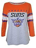 Ultra Game NBA Phoenix Suns Womens T-Shirt Raglan Baseball 3/4 Long Sleeve Tee Shirt, Heather Gray, Small