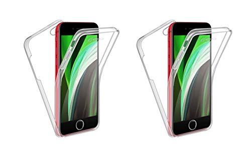 TBOC 2X Funda para Apple iPhoneSE - iPhone SE (2020) [4.7'] - [Pack 2 Unidades] Carcasa [Transparente] Completa [Silicona TPU] Doble Cara [360 Grados] Protección [Delantera Flexible] [Trasera Rígida]