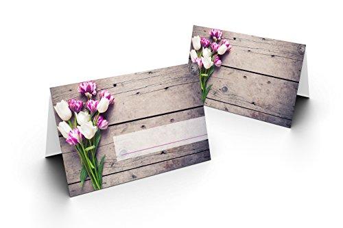 50 Tischkarten (Tulpen Straus) UV-Lack glänzend - für Hochzeit, Geburtstag, Taufe, Kommunion, Firmung, Jubiläum als liebevolle Tischdekoration!Format 8,5 x 11,2 cm