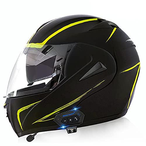 Casco Integral de Motocicleta de Antivaho Doble Visera Modular Flip Up Ligero y Fuerte Cascos de Moto Cascos Modulares para Hombre de Motocicleta Ciclomotor(Size:L(59-60CM),Color:Rayo amarillo-A)
