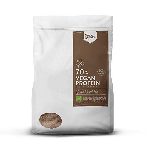 Vegan Protein Powder Cacao Taste Organic 1 Kg | SOUTH GARDEN | 70% Vegetal Raw Protein | All BCAA | High in Lysine & Arginine | Vegan | Gluten Free | Dairy Free | No added Sugar