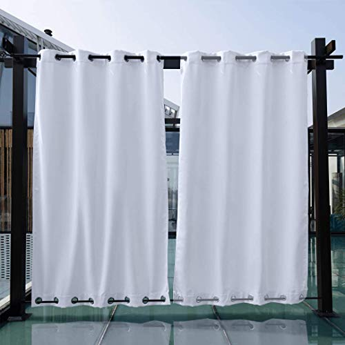 SNOWCITY Windproof Outdoor Curtains Thermal Insulated Grommet at Top and Bottom Wind-Break Outdoor Drape Keep Privacy for Pergola, 1 Panel, 52W x 95L