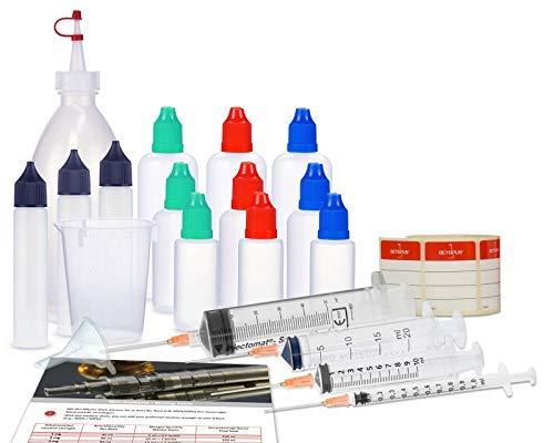 Set di bottiglie contagocce, set di base con bottiglia di miscelazione, bottiglie di liquido (bottiglie vuote), siringhe dosatrici, misurino e imbuto per la miscelazione, liquido di miscelazione.