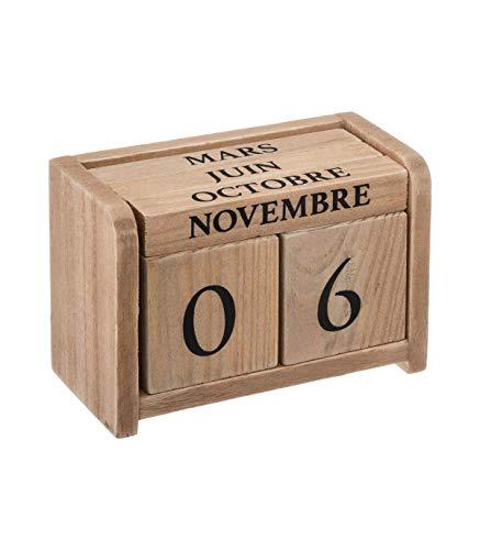 Atmosphera Colonial - Calendario perpetuo de Madera, 7,5 cm de Altura