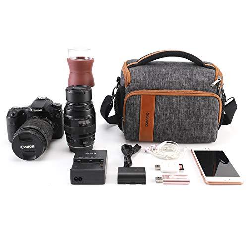 DOMISO SLR DSLR Kameratasche Wasserdicht Fototasche für Spiegelreflexkamera Systemkamera Nikon D90 D7000 D5300/Canon 60D 700D 5D2/Sony A580 A900/OLYMPUS/Fujifilm/Sony/Panasonic/Pentax/Samsung,Grau
