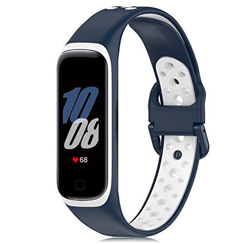 Onedream Correa Compatible para Samsung Galaxy Fit 2 R220 Banda, Silicona Pulsera Reemplazo Deportivo Accesorios para Mujer Hombre Medianoche-Blanco