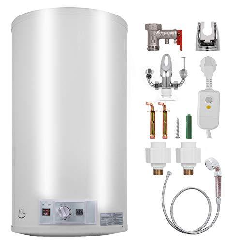 Bisujerro 50L Calentador de Agua Eléctrico 2KW Calentador de Agua con Tanque Hot Water Heater para Uso en Cocina o en Baño (50L)