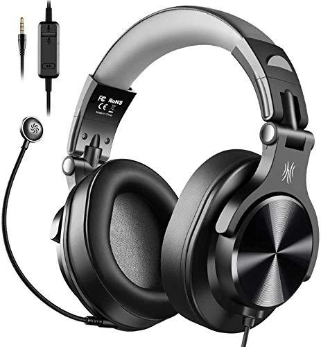 OneOdio Auriculares DJ con Micrófono, Auriculares con Cable, Auriculares Estudio para Ordenador con Control de Volumen y Puerto Compartido para Monitor de Grabación AMP, Guitarra y Piano (Gris)