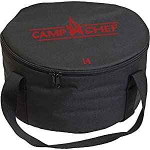 Material: Dura-Weave polyester Compatibility: dutch ovens Dimensions: [10in] 12.5 x 6 in, [12in] 13.5 x 7.25 in, [14in] 15.5 x 7.25 in Recommended Use: camping Manufacturer Warranty: limited