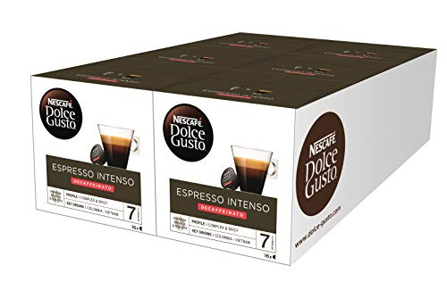 Nescafé DOLCE GUSTO Café ESPRESSO INTENSO DESCAFEINADO - Pack de 6 x 16 cápsulas - Total: 96 Cápsulas