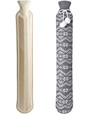 Homealexa Lange kruik met zachte overtrek 2 liter, slang-warmwaterkruik voor nek en schouder, 73 x 13 cm gecertificeerd, nekwarmfles