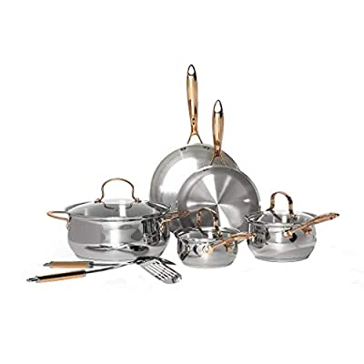 Denmark Tools for Cooks Celebrations Cookware Collection- Dishwasher Safe Oven Safe Induction Ready Durable Heavy Gauge Stainless Steel, 10 Piece Stainless Steel Cookware Set with Tools