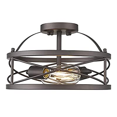 Farmhouse Semi Flush Mount Ceiling Light, HWH Industrial Vintage Metal Cage Ceiling Light Fixture 2-Light for Bedroom Hallway Dining Room Kitchen Foyer, Oil-Rubbed Bronze Finish, 5HZG42F ORB