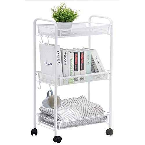 YOUDENOVA 3 Tier Rolling Cart Metal Utility Cart with Wheels for Art Book or Makeup 3 Tier Storage Cart for Office Kitchen Bathroom and Bedroom White Taller