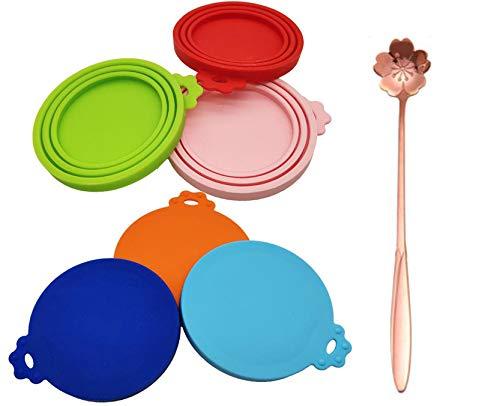 MQIAN Coperchi per scatolette di Cibo per Animali, 3 Misure, Lavabili in lavastoviglie, Senza BPA, in Silicone, universali, 6 coperchi e 1 Cucchiaio