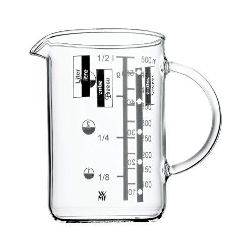 WMF Gourmet Glas Messbecher 0,5l, hitzebeständiges Glas, Skalierung für Liter, Milliliter, Tassen und Gramm