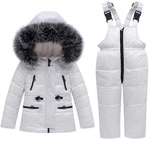 FAIRYRAIN - Conjunto de Chaqueta de plumón para niños y niñas, con Capucha de Pelo sintético, Chaqueta de Invierno con pantalón de plumón Blanco 100 cm 3-4 años