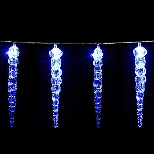 Monzana LED Eiszapfen Lichterkette 80 Eiszapfen blau Fernbedienung 8 Leuchtmodi Timer Innen Außen Weihnachtslichterkette
