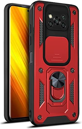 MOONCASE Capa para Xiaomi Poco X3 Pro, policarbonato ultra fino de camada dupla + capa de proteção contra quedas de nível militar TPU macio com anel magnético capa de suporte para Xiaomi Poco X3 Pro - vermelha