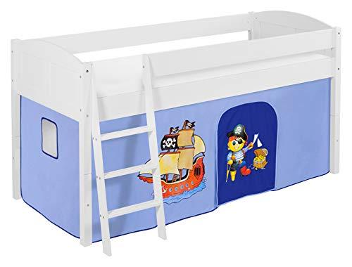 Lilokids Spielbett IDA 4106 Pirat Blau-Teilbares Systemhochbett weiß-mit Vorhang Kinderbett, Holz, 208 x 98 x 113 cm