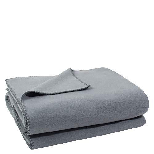 Soft-Fleece-Decke – Polarfleece-Decke mit Häkelstich – flauschige Kuscheldecke –  160x200 cm – 935 titanium – von 'zoeppritz since 1828'