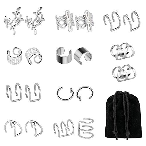 Dreamtop - 10 pares de pendientes de acero inoxidable, sin perforación, para hélice, unisex