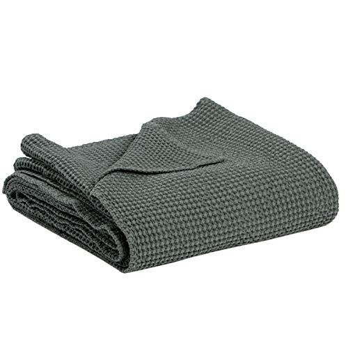 Vivaraise - Jeté de lit - Couvre-lit - Couverture lit - Drap lit - Jeté de lit décoration - 180 x 260-100% Coton - Gris - Maia
