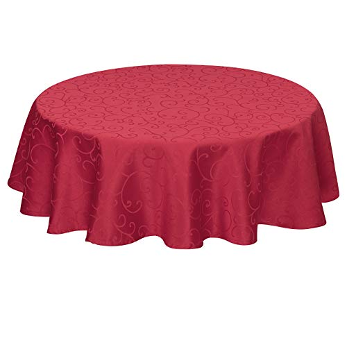EUGAD Tischdecke Damast Ornamente Seidenglanz Kringel/Circle Design Tafeldecke mit Saum, Tischtuch Größe & Farbe wählbar, Edel Tisch Decke Abwaschbar und Bügelfrei, Rund 160 cm Dunkelrot
