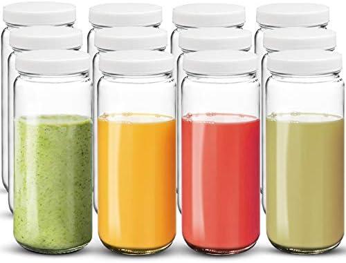 Bedoo 12 Pack Glass Juicing Bottles Jars 16 oz Glass Juice Bottles for juicing Glass Water Bottles product image