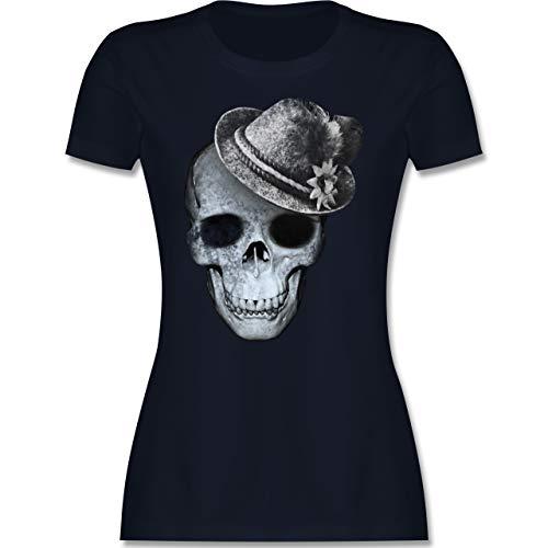 Oktoberfest & Wiesn Damen - Totenkopf mit Filzhut - XXL - Navy Blau - Trachtenbluse Damen schwarz weiß - L191 - Tailliertes Tshirt für Damen und Frauen T-Shirt
