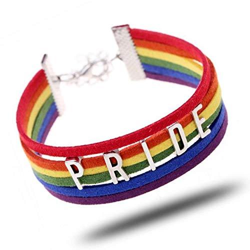 Pulsera JinYu LGBT, joyería de orgullo lesbiano, brazalete de orgullo arco iris y pulsera trenzada perfecta para hombres y mujeres