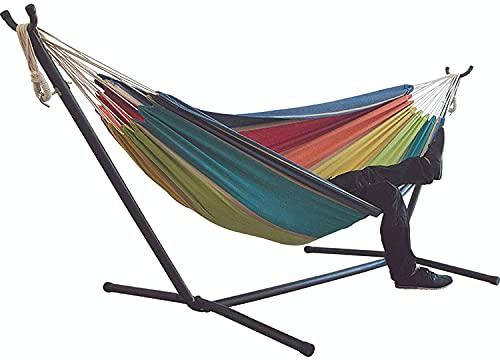 Hängematten-Schaukelstuhl mit abnehmbarem Heavy Duty Metallständer Doppelte Baumwolle Platzsparend für Indoor Outdoor Patio Yard Balkon Tragfähigkeit bis zu 550 Pfund B Lazy Chair/C