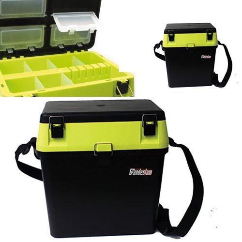 HI VIZ YELLOW BLACK SEAT + TACKLE FISHING BOX WITH STRAP SEAT PAD SEA BOAT CARP