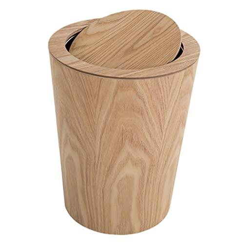 Nobranded Mülleimer Massivholz Abfalleimer Haushaltspapierkorb Küche Dekorative Aufbewahrungskörbe - Holz 2 Schaukelabdeckung