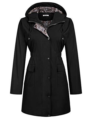 SoTeer Rain Jacket Women Lined Hooded Lightweight Raincoat Active Outdoor Waterproof Windbreaker (Black, L)