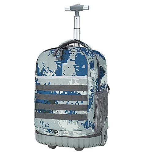 ZZLHHD Trolley Bag School,Children's tie bag, large capacity travel backpack-Blue,Waterproof Trolley School Bag