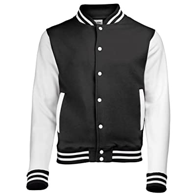 AWDis Hoods Varsity Letterman jacket Jet Black/White L by