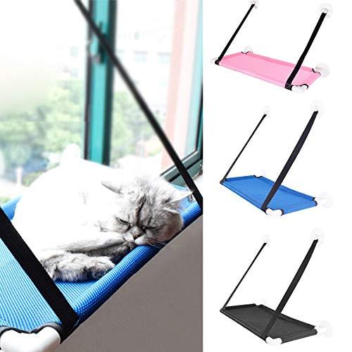 Eurobuy 360 ° Sunbath Cat Window Perch, Hamaca Transpirable de Material de Red Cat Window, Cama de Gato montada en Ventana con ventosas Fuertes y Almohadilla Auxiliar de Silicona (Color : Black)