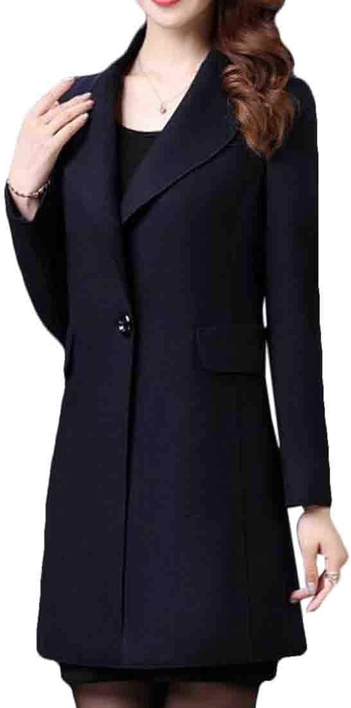 JXG Women Midi Lapel Graceful One Button Slim Pea Coat