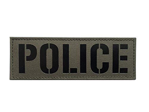 IR Infrared Police Patch with Hook and Loop (6x2 Inch, Ranger Green)