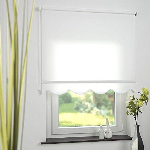 Kettenzugrollo Seitenzugrollo Fenster Rollo mit Volant Weiß Breite 60 bis 240 cm Länge 180 cm Sonnenschutz Sichtschutz Blendschutz Stoff Tür Vorhang Blickdicht Lichtdurchlässig (80 x 180 cm)