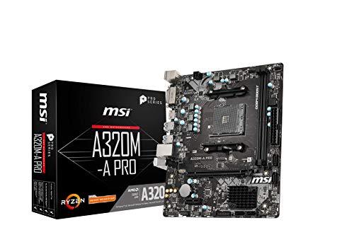 MSI Mainboard AM4 Micro ATX AMD A320 A320M-A PRO, AMD, Athlon, AMD Ryzen, DDR4-SDRAM, DIMM, 1866, 2133, 2400, 2667, 2933, 3200 MHz