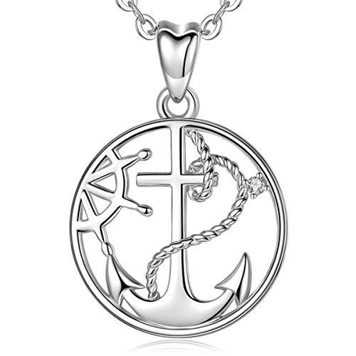 AEONSLOVE Anker Kette Halskette Anhänger Damen 925 Sterling Silber Runde Glück Kompass Schmuck, 46CM