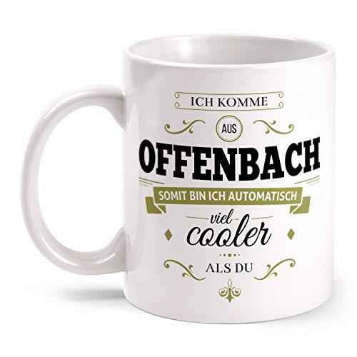 Fashionalarm Tasse Ich komme aus Offenbach - beidseitig bedruckt mit coolem Spruch   Geschenk Idee für Offenbacher Männer und Frauen, Farbe:weiß