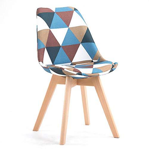 H-ei Nordic Dining Chair Moderne minimalistische Massivholz Lounge Stuhl Stoff Schreibtisch Stuhl für Wohnzimmer, Schlafzimmer, Cafe (Color : Plaid)